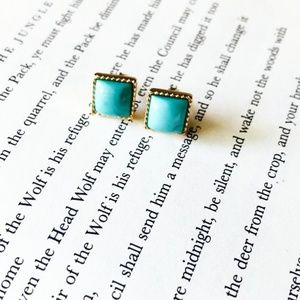 GOLD TURQUOISE BAGUETTE STUDS STATEMENT EARRINGS